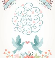 Cute wedding invitation with flowers love birds vector