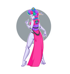 Cyber geisha with image of vector