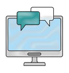 Desktop computer with speech bubbles vector