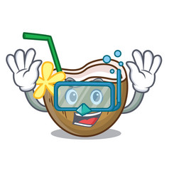 Diving cocktail coconut character cartoon vector
