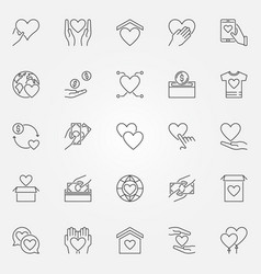 Donation and charity icons set - donate vector