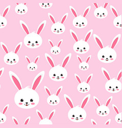 Easter rabbit seamless pattern on pink background vector