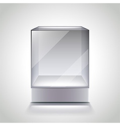 Empty glass cube showcase for exhibition vector image