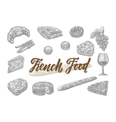 Engraved french food elements set vector