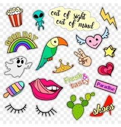 Fashion patch badges Pop art set Stickers pins vector image