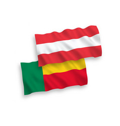 Flags austria and benin on a white background vector