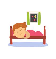 Flat girl sleeping in her bed under blanket vector