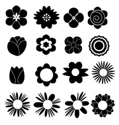 flower set icon on white background vector image