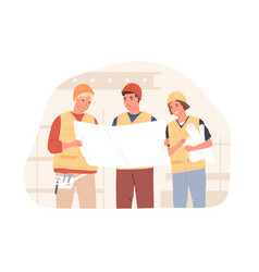 foreman and workers in hard hats at construction vector image