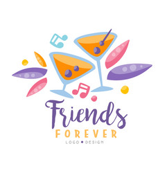 Friends forever logo design colorful creative vector