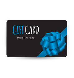 gift card template with bow and ribbon vector image
