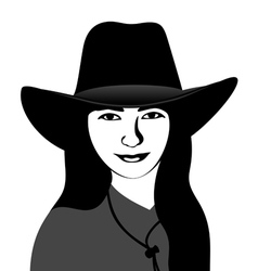 Girl in a cowboy hat vector