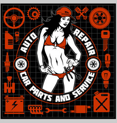 girl in bikini and car servive icons - label for vector image