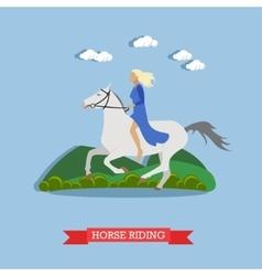 Girl riding a horse flat design vector image