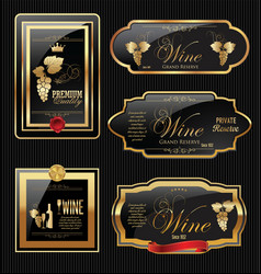 Golden wine label collection vector