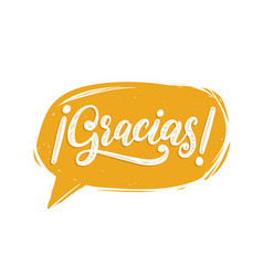 Gracias calligraphy spanish translation of thank vector
