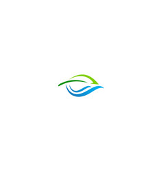 Green leaf wave water organic logo vector