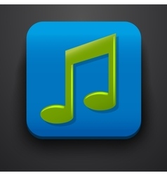 Green music symbol icon on blue vector