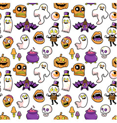 Halloween seamless pattern in cartoon comic style vector