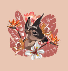 hand drawn fawn with tropical vector image