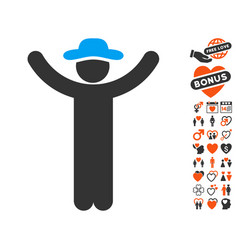 hands up gentleman icon with lovely bonus vector image vector image