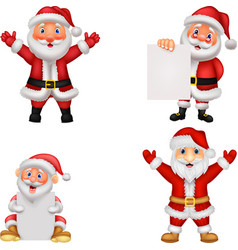 happy santa clause cartoon with sign vector image