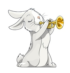 Hare playing trumpet vector