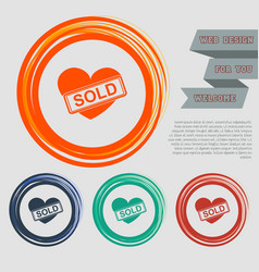 Heart icon on red blue green orange buttons vector