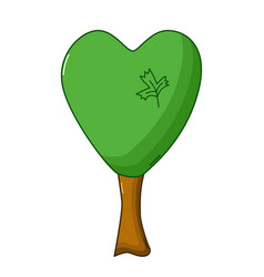 heart tree icon cartoon style vector image