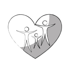 heart with family silhouette vector image
