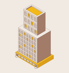 isometric office building in outline style yellow vector image