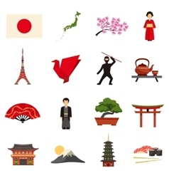 Japan Culture Flat Icons Set vector