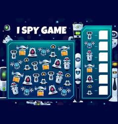 Kids i spy game with robots educational puzzle vector