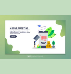 landing page template mobile shopping modern vector image