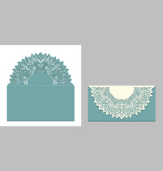 Laser cut paper lace envelope with mandala element vector