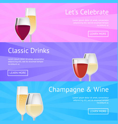 Let s celebrate classic drink champagne wine icons vector