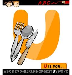 letter u with utensils cartoon vector image