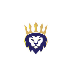 lion head and crown in top logo design vector image