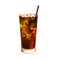 Long island ice tea cocktail realistic vector