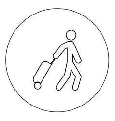 man with suitcase icon black color in circle vector image