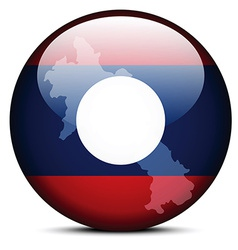 Map on flag button of Laos vector image