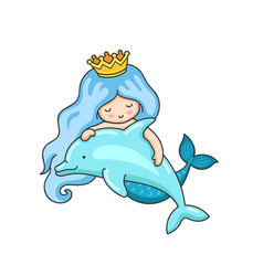 mermaid with wavy blue hair and dolphin vector image
