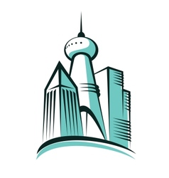 Modern city with a communications tower vector image