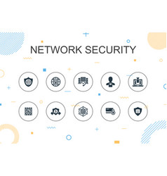 Network security trendy infographic template thin vector