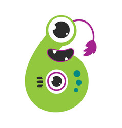 Number six cute monster funny fantasy alien vector