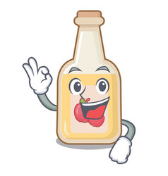 Okay apple cider isolated with mascot vector