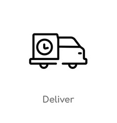 Outline deliver icon isolated black simple line vector