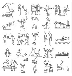 outline relaxation icon set simple draw vector image