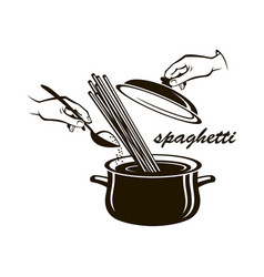 pan with spaghetty vector image