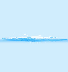 Panorama winter mountains landscape vector